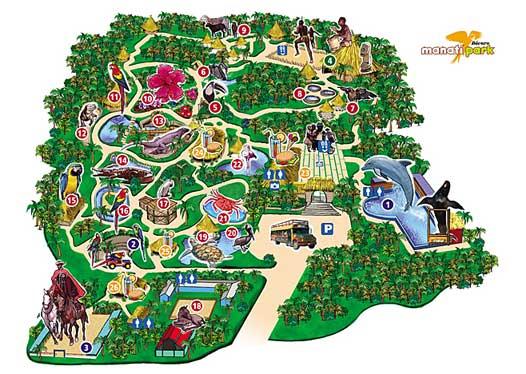 Mapa del Manatí Park en Punta Cana.