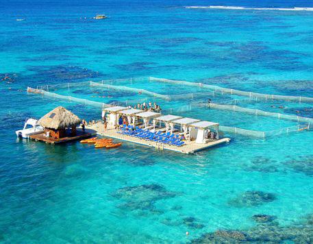 Isla flotante del Reef Explorer Tour.