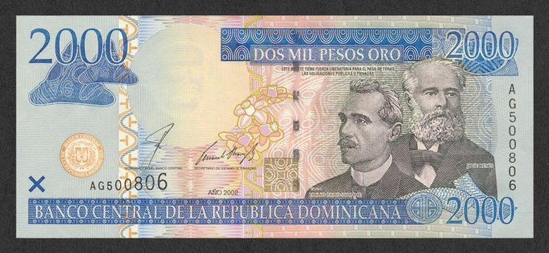 Moneda de Punta Cana, el billete de 2000 pesos es el mayor denominación